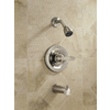 Delta Foundations Stainless 1-Handle WaterSense Bathtub and Shower Faucet Trim Kit with Single Function Showerhead
