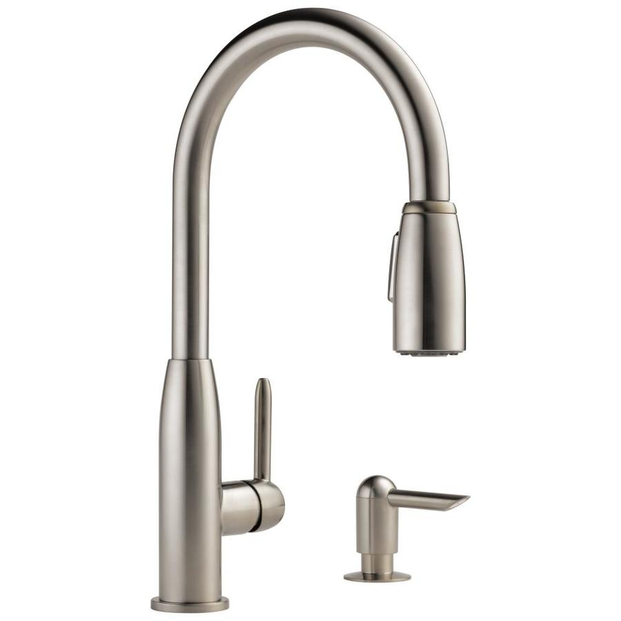 Shop peerless stainless 1 handle pull down kitchen faucet - Lowes kitchen sink faucet ...