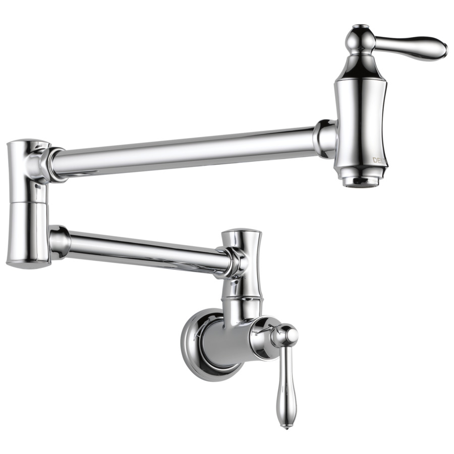 Shop Delta Traditional Chrome 2 Handle Pot Filler Wall Mount Kitchen Faucet At