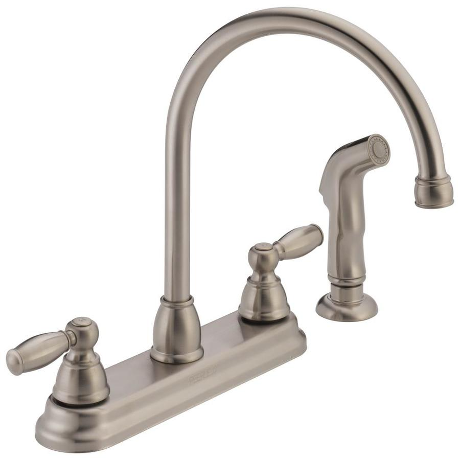 shop peerless stainless high arc kitchen faucet with side
