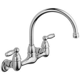 Peerless Chrome 2-Handle High-Arc Wall Mount Kitchen Faucet