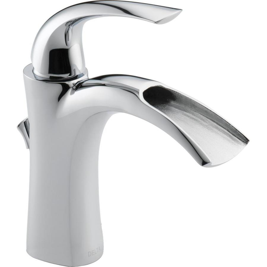 Bathroom Sink Faucets: Shop Delta Nyla Chrome 1-Handle Single Hole WaterSense Bathroom Sink Faucet (Drain Included) At