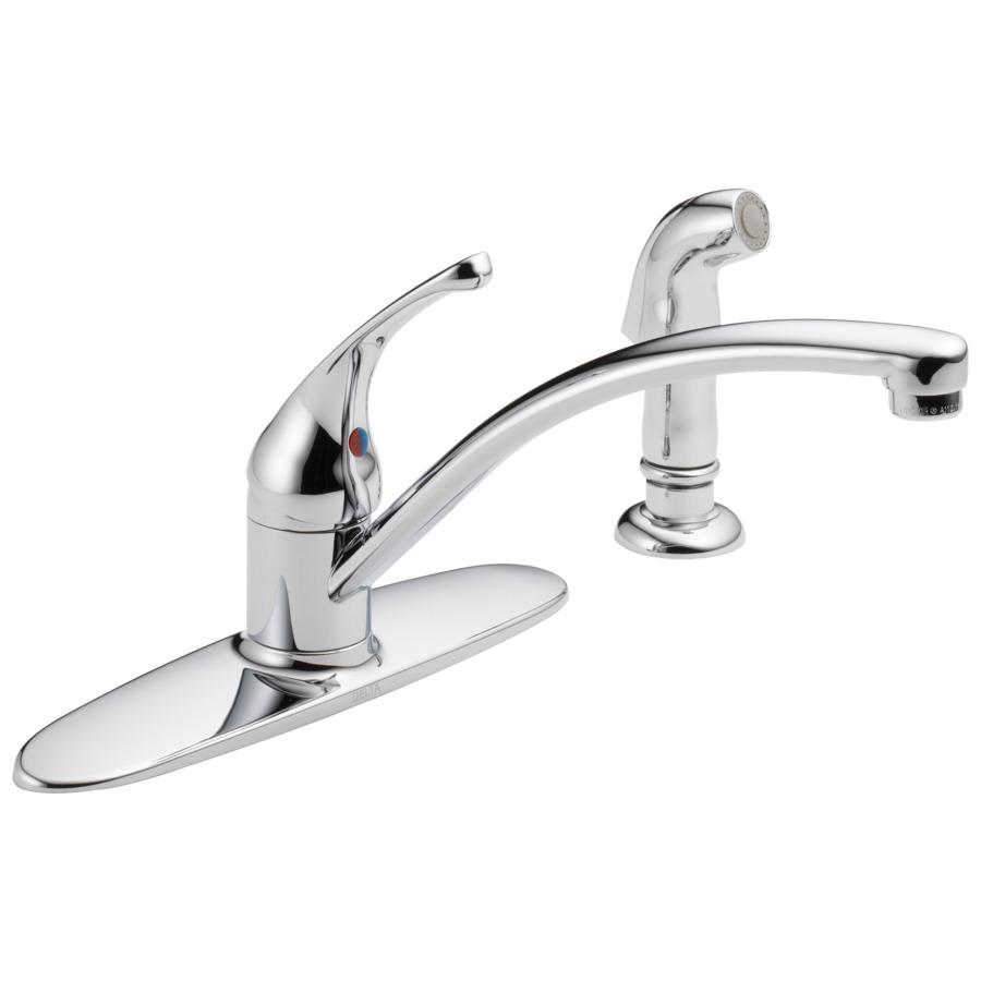 shop delta foundations chrome 1 handle low arc kitchen shop delta classic chrome 1 handle low arc kitchen faucet