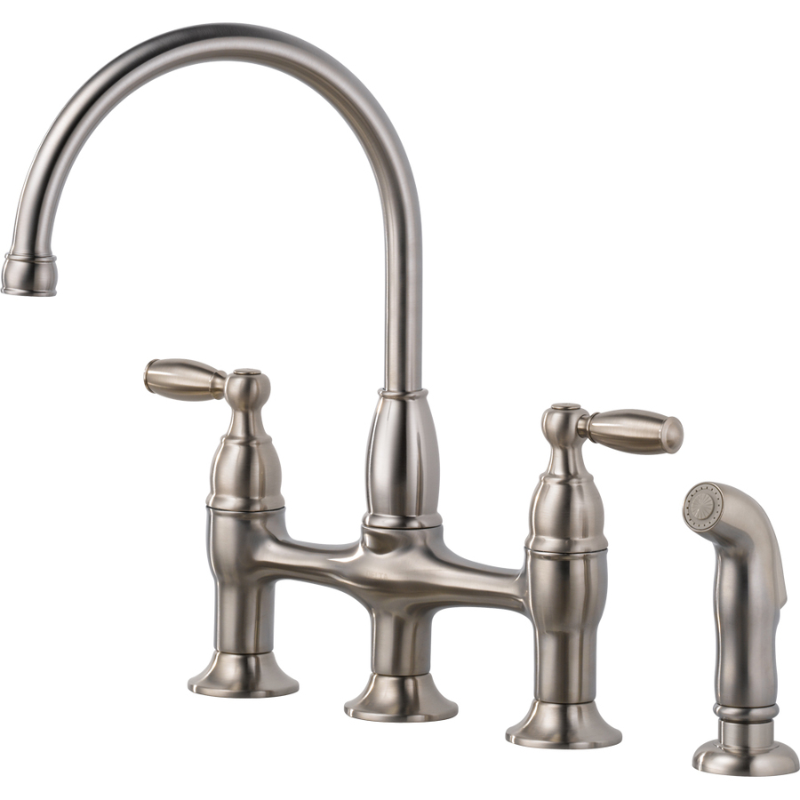 Shop Delta Dennison Stainless High Arc Kitchen Faucet With Side Spray At