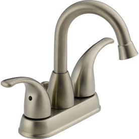 Peerless Transitional Brushed Nickel 2-Handle 4-in Centerset WaterSense Bathroom Faucet (Drain Included)