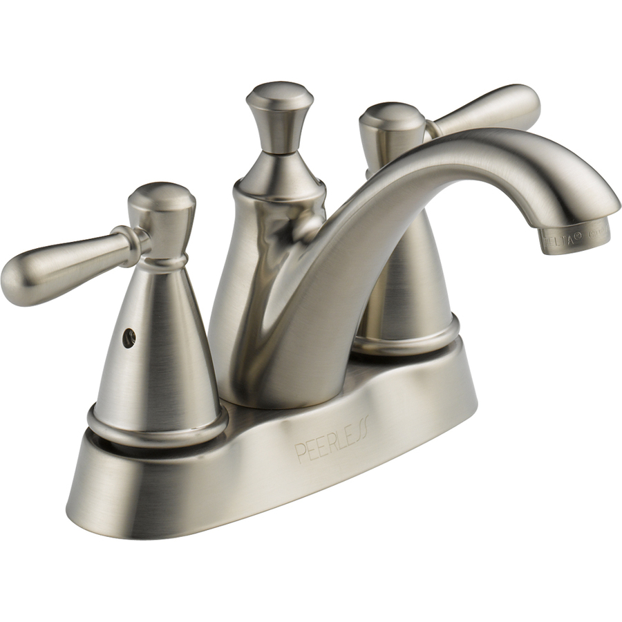 Shop peerless traditional brushed nickel 2 handle 4 in for Bathroom sink faucets