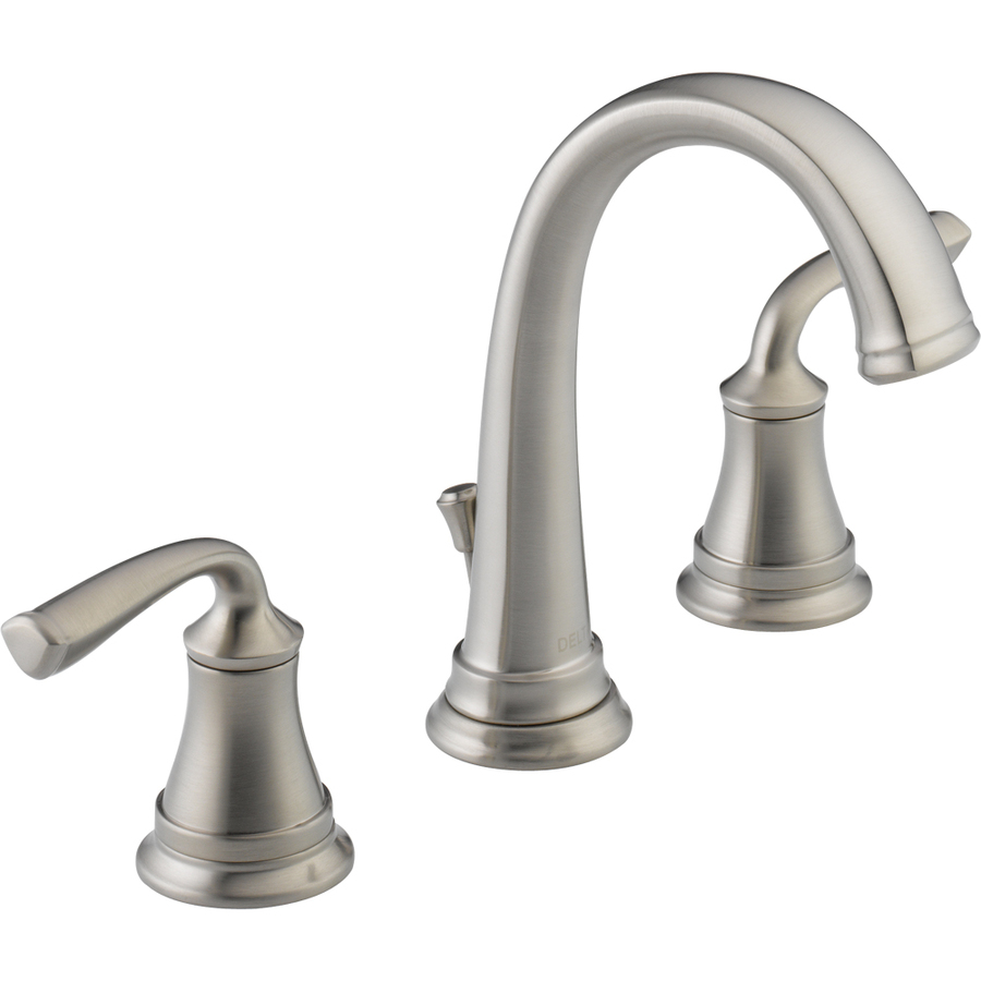 Shop delta lorain stainless 2 handle widespread watersense for Bathroom sink faucets