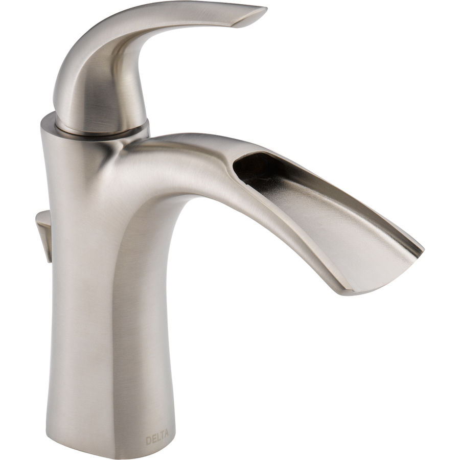 Shop delta nyla stainless 1 handle single hole watersense for Bathroom sink faucets