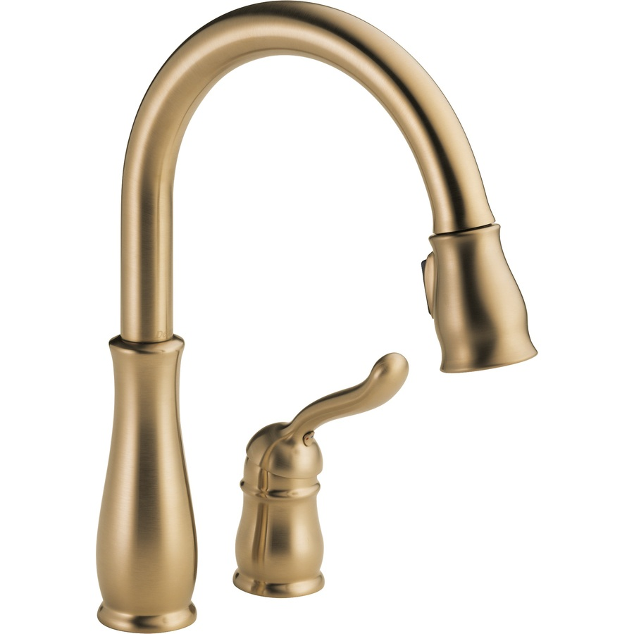 Shop Delta Leland Champagne Bronze Pull Down Kitchen Faucet At