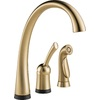 Delta Pilar Touch2O Champagne Bronze 1-Handle High-Arc Sink/Counter Mount Kitchen Faucet Side Spray Included