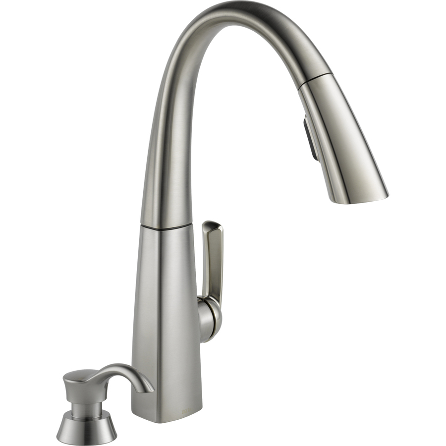 Delta Kitchen Faucets : Shop Delta Arc Stainless Steel 1-Handle Pull-Down Kitchen Faucet at ...