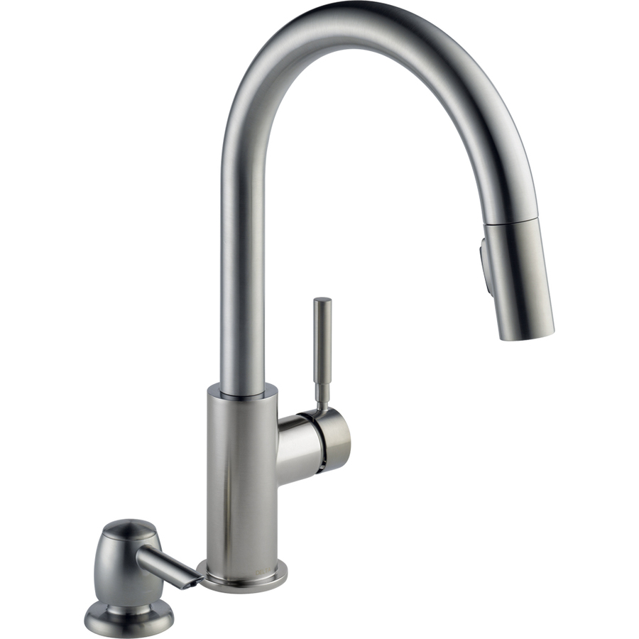 Shop Delta Trask Stainless Steel 1-Handle Pull-Down Kitchen Faucet at ...