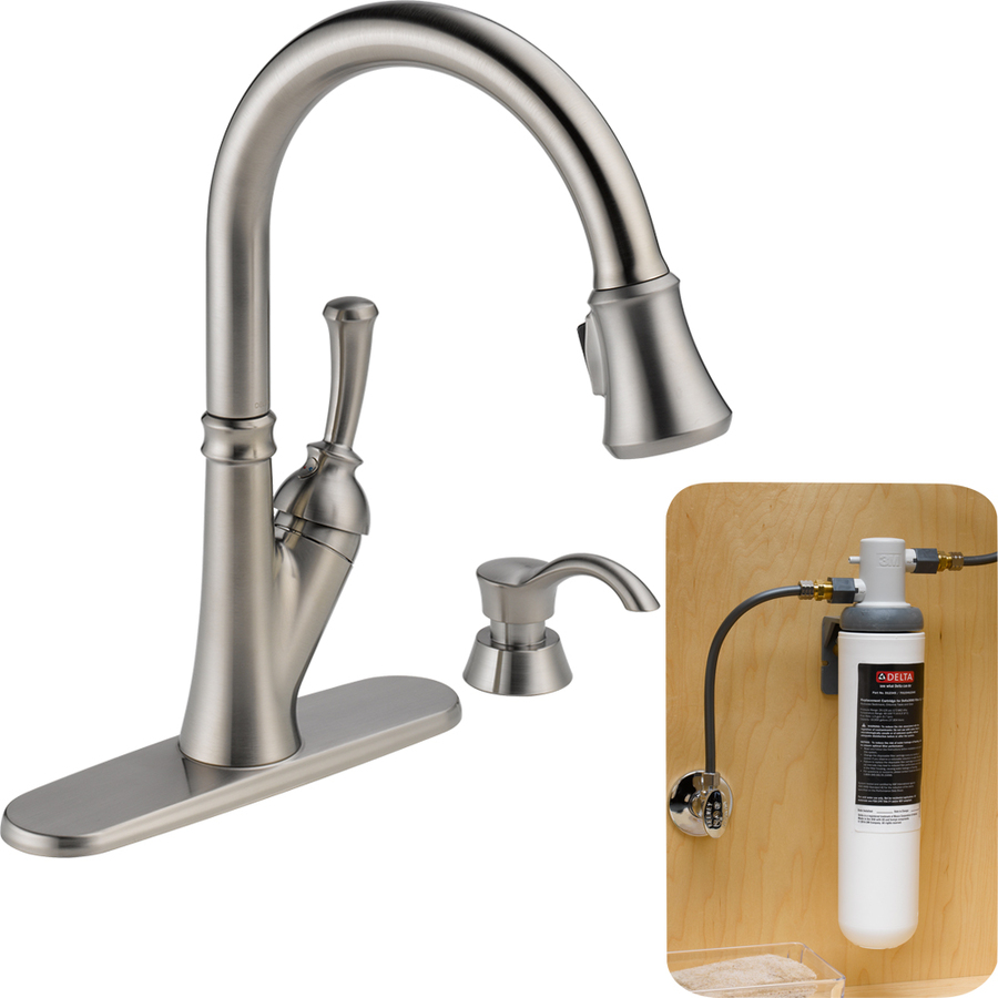 shop delta savile with filtration stainless 1 handle pull kitchen faucet filter system