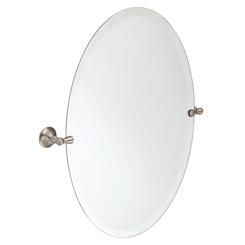 "Zoomed: Moen 23.87""W Sage Brushed Nickel Oval Bath Mirror"