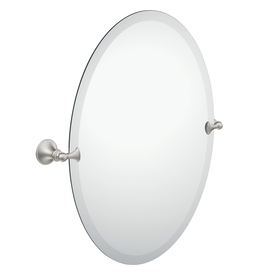 Moen Glenshire 26-in H x 20.44-in W Oval Tilting Frameless Bathroom Mirror with Spot Resist Brushed Nickel Hardware and Beveled Edges