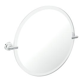 Moen Iso 22-in Round Tilting Frameless Bathroom Mirror with Chrome Hardware and Beveled Edges