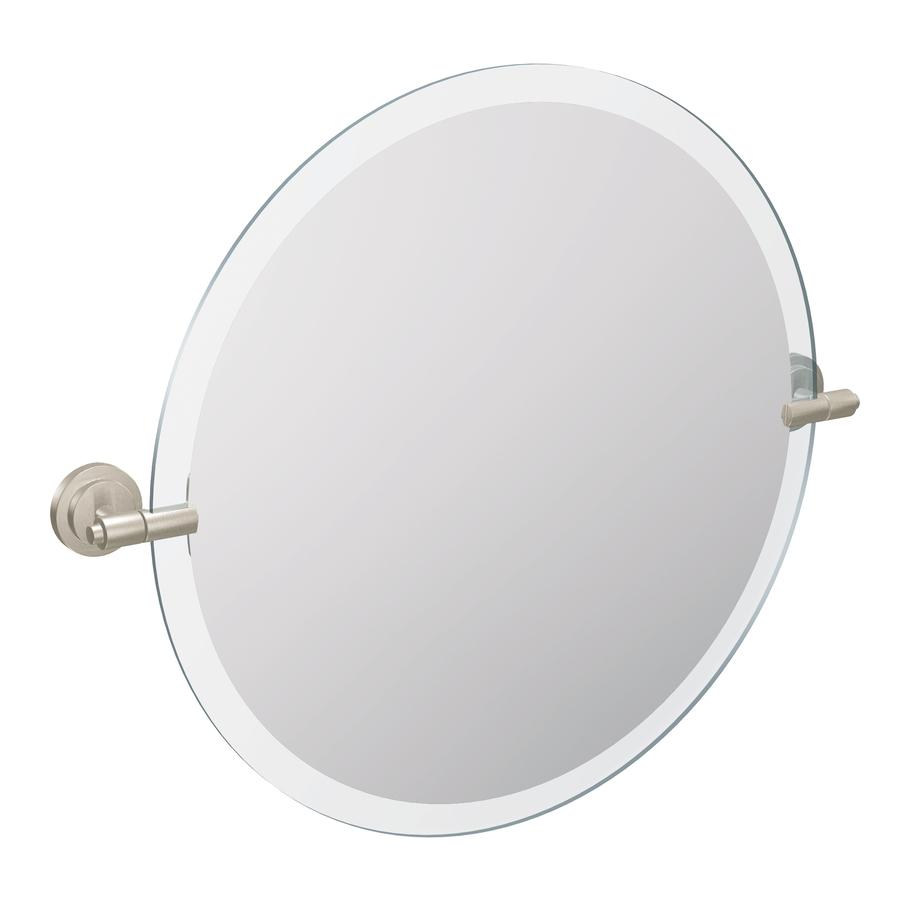 Shop Moen Iso 22 In Round Tilting Frameless Bathroom Mirror With Spot Resist Brushed Nickel