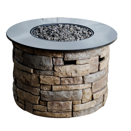 Liquid propane fire pit with lava rocks ebay for Lowes fire pit