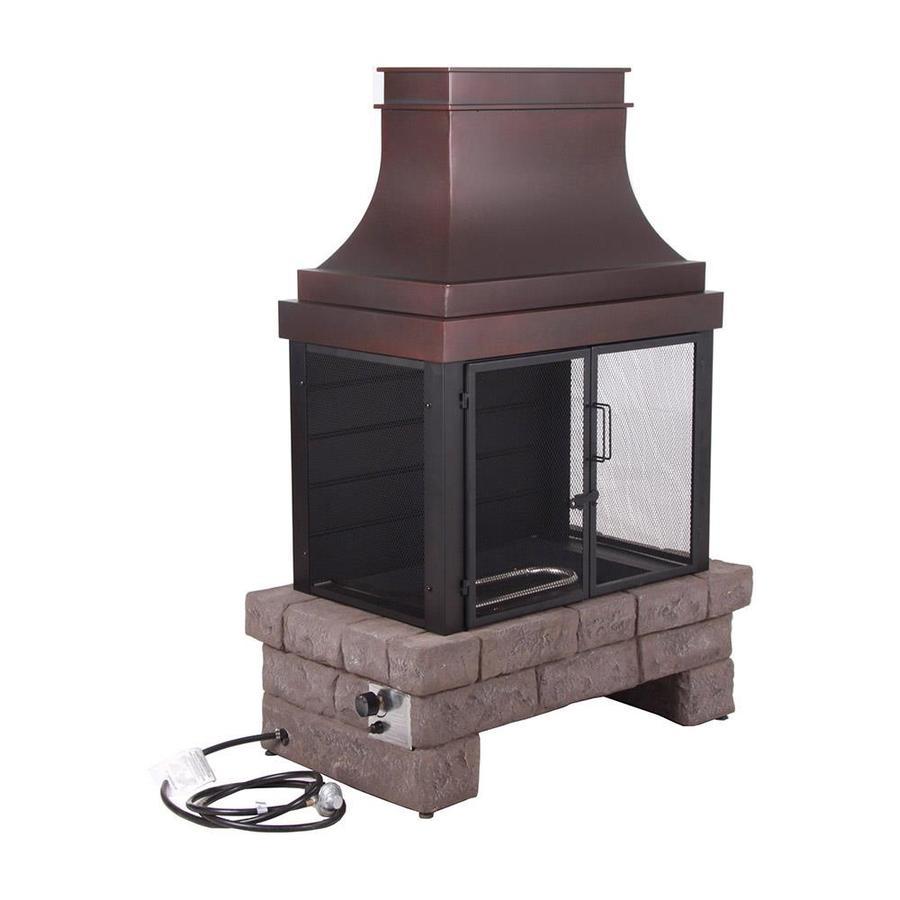 Shop Bond 50 000 Btu Stone Composite Outdoor Liquid Propane Fireplace At