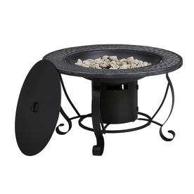 Shop Garden Treasures 29 9 In W 20 000 Btu Black Steel Propane Gas Fire Pit At