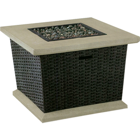 allen + roth Somersville 34.5-in W 50,000-BTU Brown Wicker Design Composite Propane Gas Fire Table