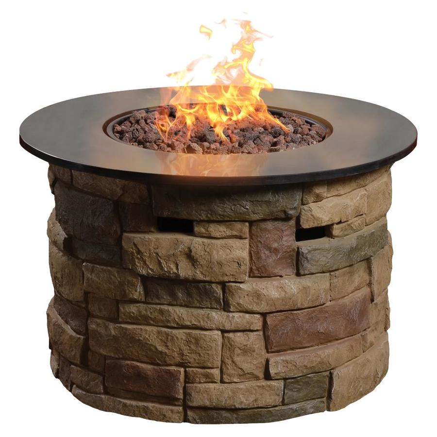 Shop allen + roth Canyon Ridge 36.6-in W 50,000-BTU Stone Design Composite Propane Gas Fire ...