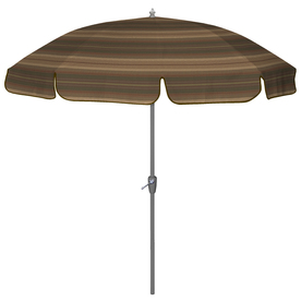 Round Brown/Tan Patio Umbrella with Tilt-And-Crank (Actual: 90-in)