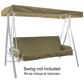 44-in L x 85-1/2-in W Sunbrella Cranston Linen Texture UV-Protected Canopy Swing Cushion with Arm Rests and Canopy L572815B