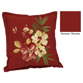 Garden Treasures Floral Red Tropical UV-Protected Square Outdoor Decorative Pillow