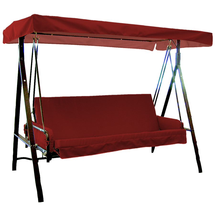 Backyard Canopy Lowes :  Arden Outdoor Red Swing Cushion with Armrests and Canopy at Lowescom