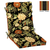 Garden Treasures 46-in L x 22-in W Floral Black Chair Cushion