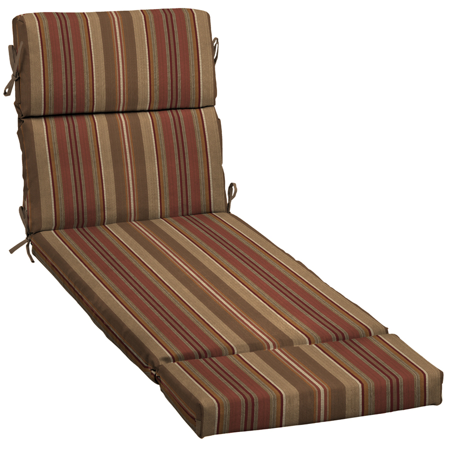 Shop stripe chili patio chaise lounge cushion at for Chaise loung cushions