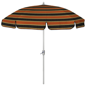 7 Ft 6 In Floral Striped Black Round Patio Umbrella