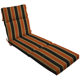 Shop 79 in l x 23 in w floral stripe black patio chaise for Black and white striped chaise lounge cushions