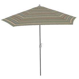 9-ft Striped Spa Blue Round Market Umbrella