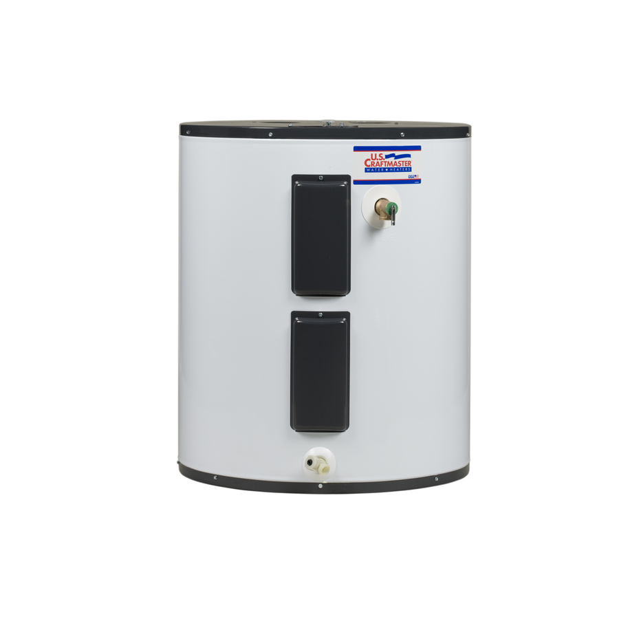 This Whirlpool Electric hot water heater model is tall and thin with an 18