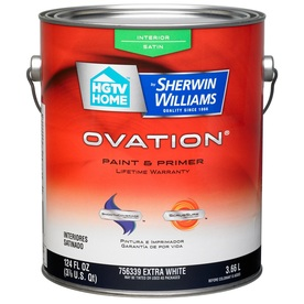 shop hgtv home by sherwin williams ovation extra white satin latex interior paint and primer in. Black Bedroom Furniture Sets. Home Design Ideas