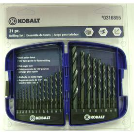 Kobalt 21-Piece Black Oxide Metal Twist Drill Bit Set