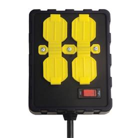 Over-Load Guard 8-ft 15-Amp 4-Outlet 14-Gauge Black/Yellow Indoor Extension Cord with Built-In Circuit Breaker