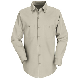 Red Kap Men's XL-Long Light Tan Poplin Polyester Blend Long Sleeve Uniform Work Shirt SP14LT LN XL