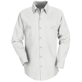 Red Kap Men's 4XL-Long White Poplin Polyester Blend Long Sleeve Uniform Work Shirt SP14WH LN 4XL