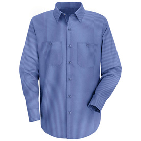 Red Kap Men's 5XL-Long Petrol Blue Stripe Poplin Polyester Blend Long Sleeve Uniform Work Shirt