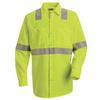 Red Kap Men's 3XL Fluorescent Yellow Poplin Polyester Long Sleeve Uniform Work Shirt