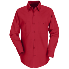 Red Kap Men's Large-Long Red Poplin Polyester Blend Long Sleeve Uniform Work Shirt SP14RD LN L