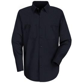 Red Kap Men's X-Large Light Blue Twin Striped Poplin Polyester Blend Long Sleeve Uniform Work Shirt