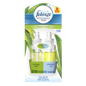 Febreze Noticeables 1-Pack Air Freshener Refill Type 0.88-oz Morning Walk and Cleansing Rain Electric Air Freshener Refill