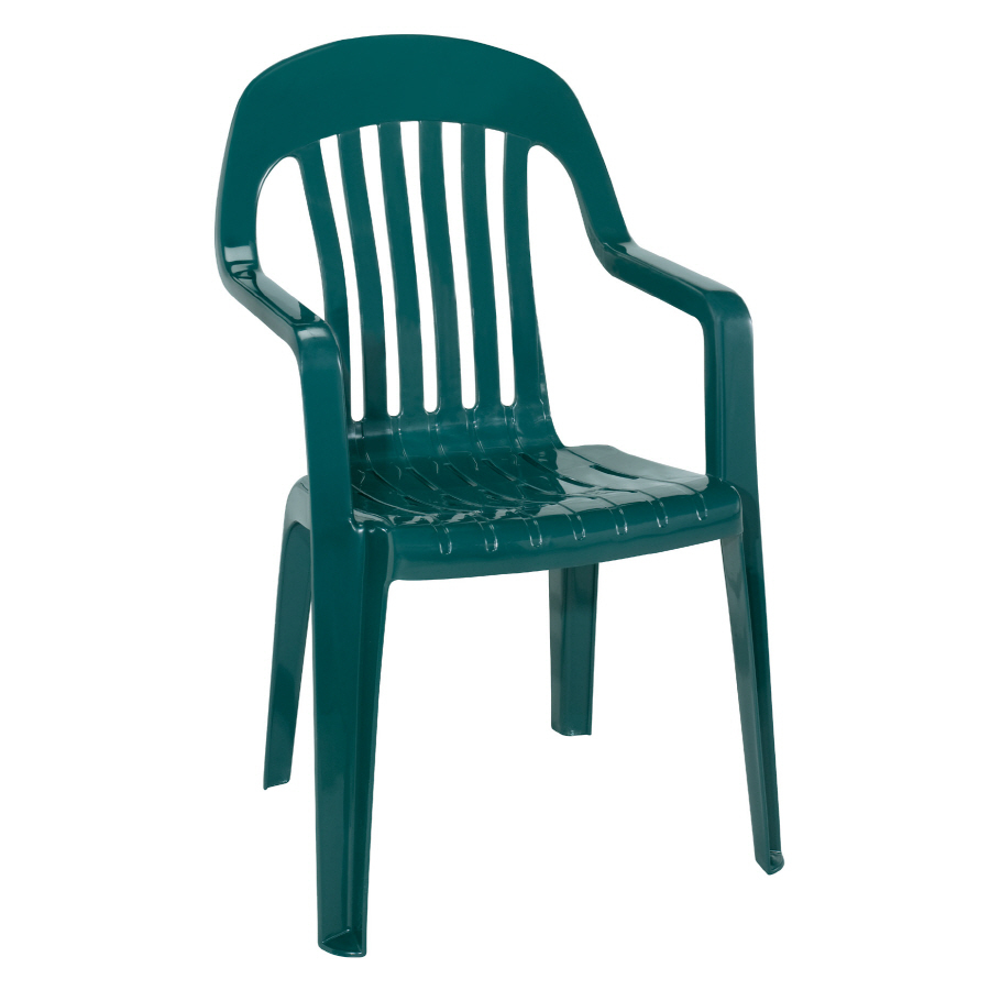hunter green slat seat resin stackable patio dining chair at