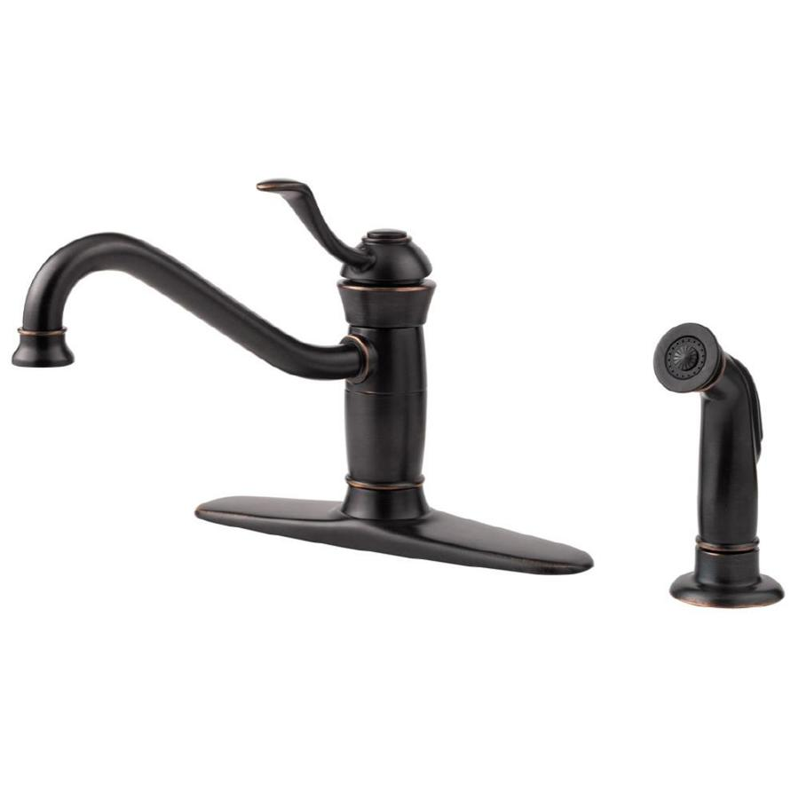 Shop Pfister Wakely Tuscan Bronze Low-Arc Kitchen Faucet with Side ...