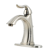 Pfister Santiago Brushed Nickel 1-Handle Single Hole WaterSense Bathroom Faucet (Drain Included)