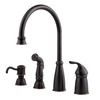 Pfister Avalon Tuscan Bronze 1-Handle High-Arc Kitchen Faucet with Side Spray